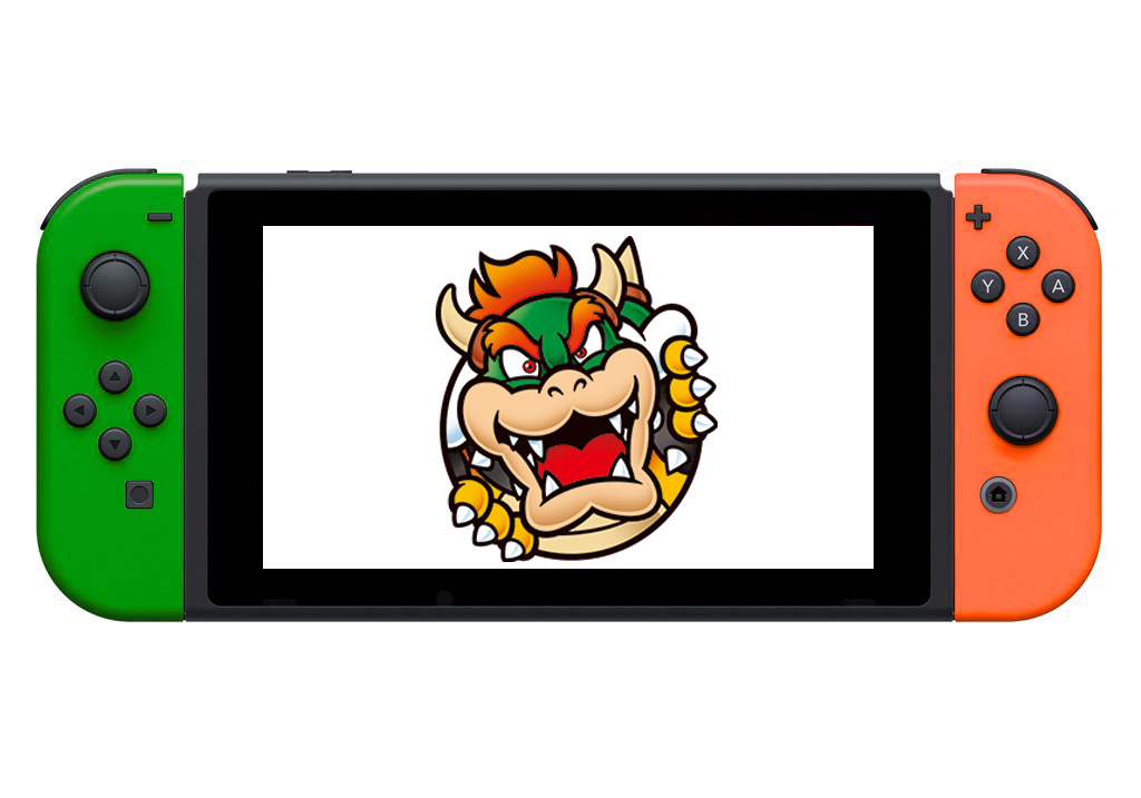 Nintendo Switch Bowser Edition with green and orange Joy-cons