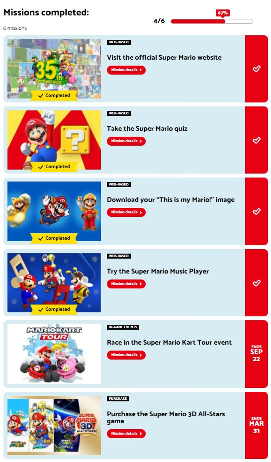 Four of the Mario missions completed for the Super Mario Bros. 35th anniversary pins