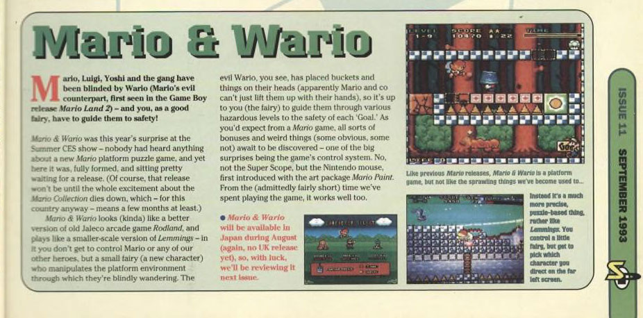 Mario & Wario - Super Play - September 1993