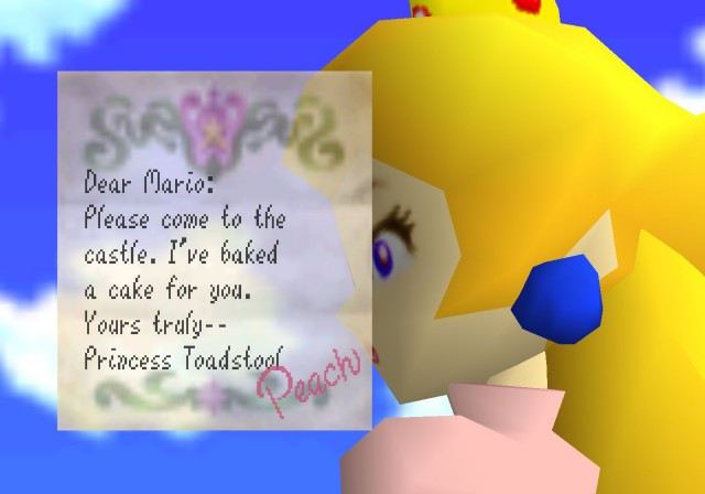 When Princess Toadstool introduces herself as Peach in Super Mario 64