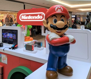Mario statue at Nintendo Kiosk at Scarborough Town Centre in Toronto