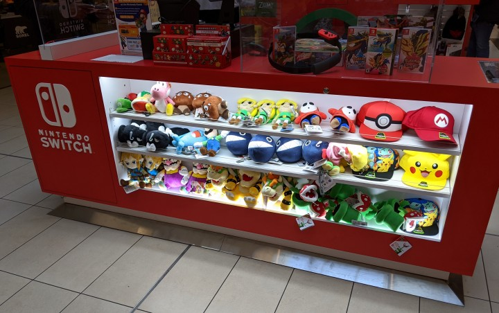 Stuffed toys and other collectibles at Nintendo Kiosk at Scarborough Town Centre in Toronto