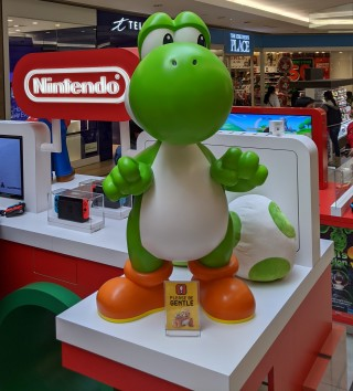 Yoshi statue at Nintendo Kiosk at Scarborough Town Centre in Toronto