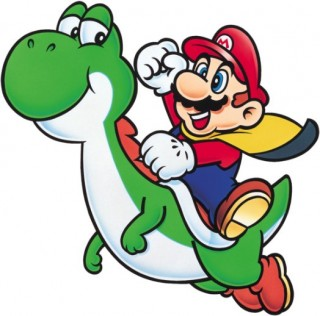 Mario riding Yoshi render from Super Mario World
