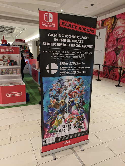 Super Smash Bros. Ultimate Early Access event at Nintendo Canada kiosk