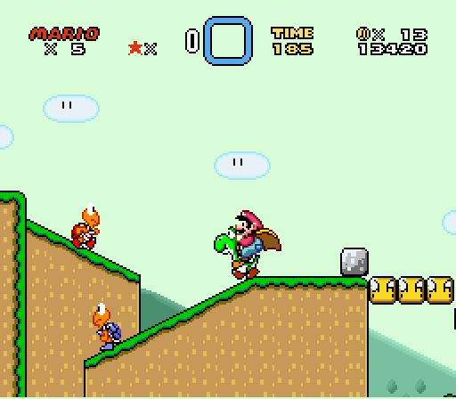 Super Mario World with Blue and Red Koopa Troopas and Yoshi