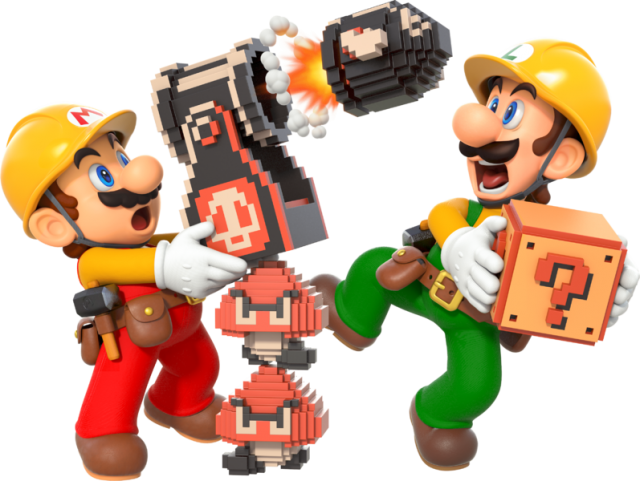 Mario and Luigi with Goombas and Bullet Bills being scared!