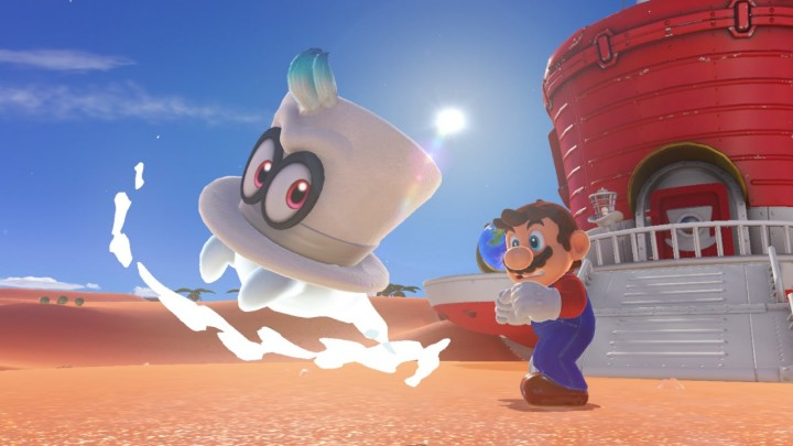 Mario and Cappy partnering together in Super Mario Odyssey
