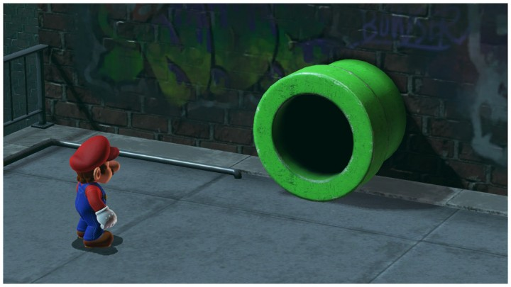 Green pipe with rusty detail in Super Mario Odyssey