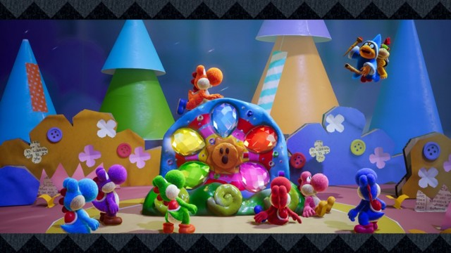 Yoshis with Kamek and Baby Bowser in Yoshi's Crafted World