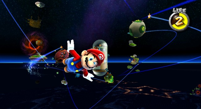 Mario flying in space