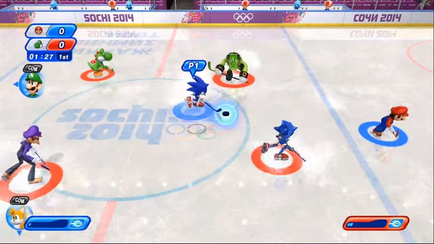 Ice hockey event in Mario & Sonic at the Sochi 2014 Olympic Games