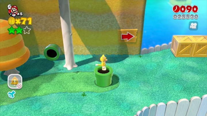 Shiny green pipes in Super Mario 3D World
