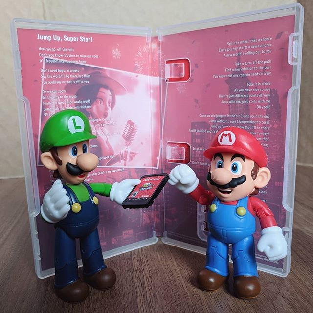 Mario and Luigi with the Super Mario Odyssey inside box art