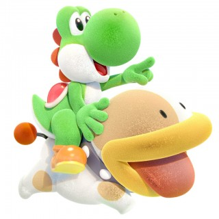 Yoshi riding Poochy in Yoshi's Crafted World